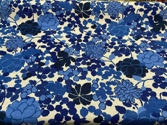 Waverly Blossom Indigo Blue Novogratz Fabric By the Yard