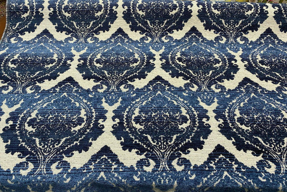 Greco Indigo Italian Damask Chenille Upholstery Blue Fabric by the yard