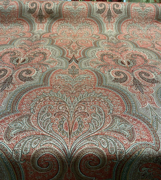 Shahmin Henna Robert Allen Damask Chenille Upholstery by the yard