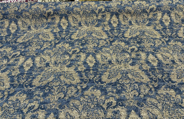 Swavelle Damask Blue Chenille Halsbrook Sapphire Fabric by the yard