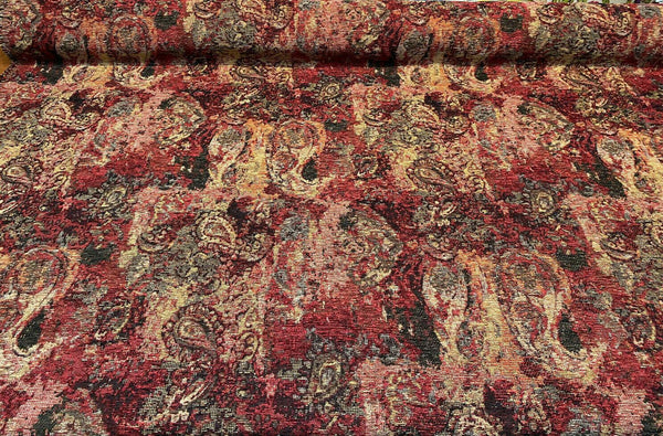Hobo Patchwork Ruby Red Swavelle TFA Chenille Upholstery Fabric By The Yard
