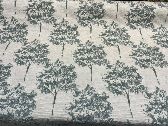 Swavelle Trees Curb Appeal Aqua Blue Chenille Upholstery Fabric by the yard