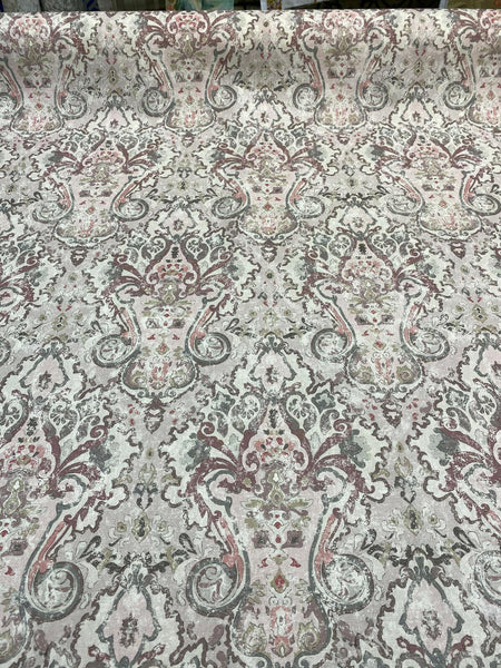 Mazely Damask Ancient Pinkish Cotton Drapery Upholstery Fabric by the yard