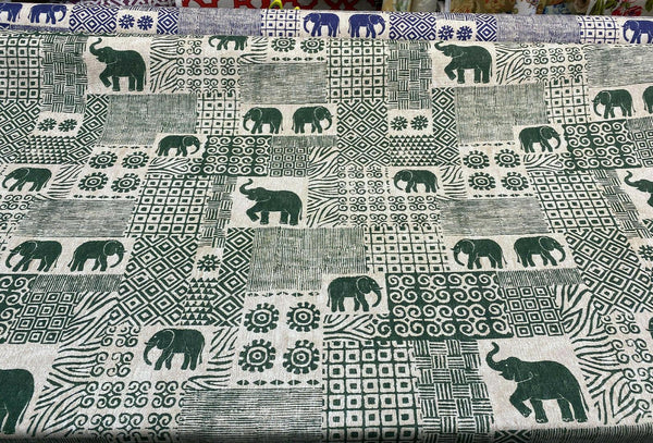 Bengala Green Elephant Cotton Drapery Upholstery Fabric by the yard