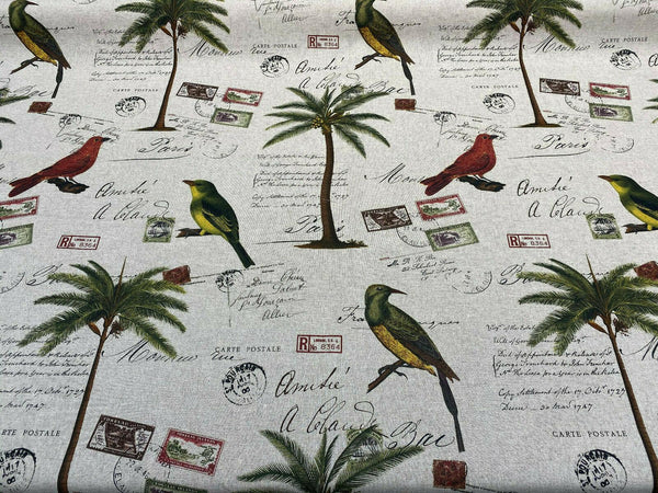 Amitie Song Birds Red Green Palm Tree Drapery Upholstery Fabric By The Yard