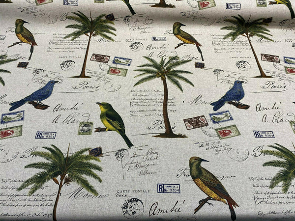 Amitie Song Birds Blue Green Palm Tree Drapery Upholstery Fabric By The Yard