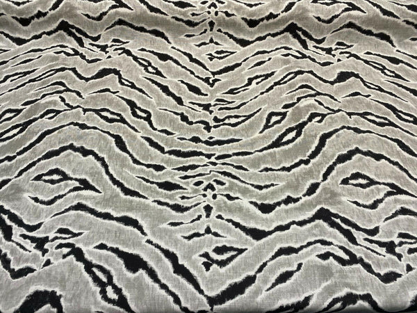 Tigers Stripes Black Gray Drapery Upholstery Vilber Fabric By The Yard