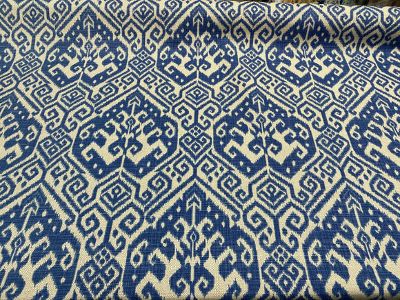 Blue Ikat Damask Tilia Canvas Upholstery Teflon finish Fabric by the yard
