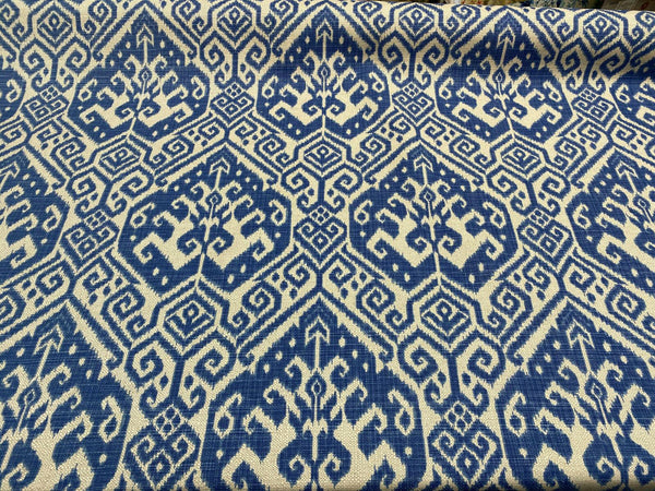 Blue Damask Tilia Canvas Upholstery Teflon finish Fabric by the yard
