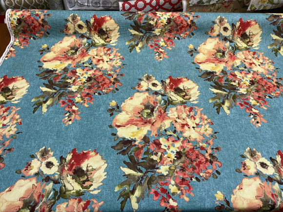 Swavelle Blue Rights Of Spring Flowers Fabric By the Yard