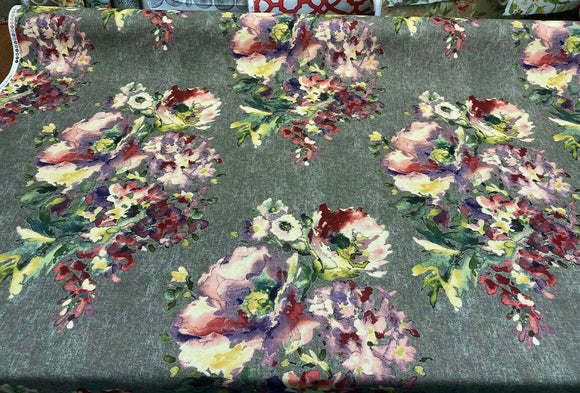 Swavelle Rights Of Spring Flowers Mixed Berry Fabric By the Yard