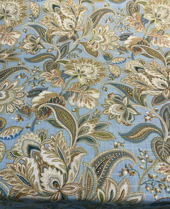 Valdosta Celestial Blue Floral Linen Rayon Swavelle Fabric By The Yard