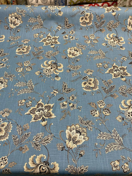 Swavelle Blue Haven Floral Silverdale Hillside Fabric By The Yard