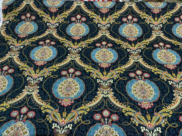 Swavelle Black Princely Damask Cotton Fabric By The Yard