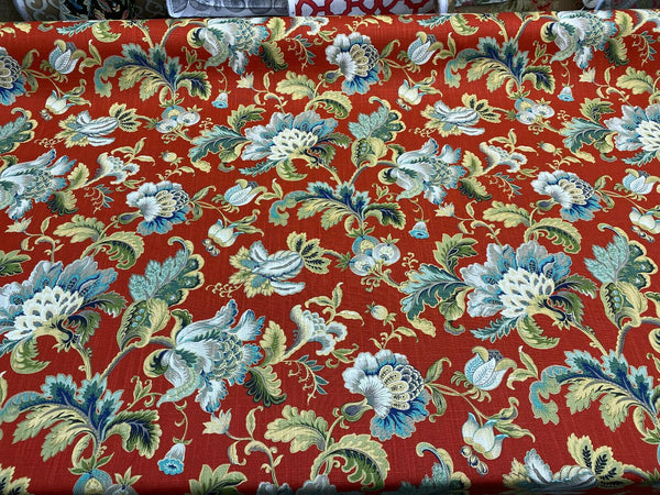 Swavelle Virgili Red Lacquer Jacobean Floral Fabric By The Yard