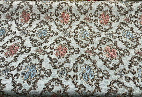 Damask Upholstery Shirin Sky Blue Designer Chenille Fabric By The Yard