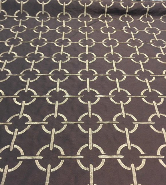Embroidered Power botton Geometric Taffeta Chocolate Drapery Fabric  by the yard