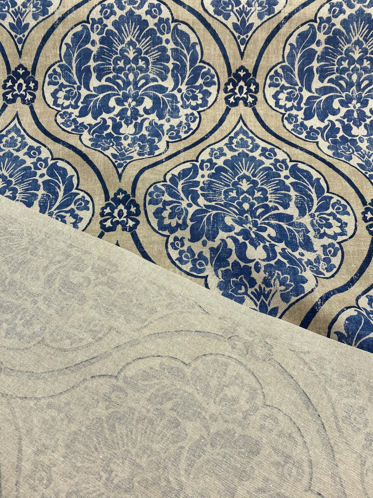 Navy Damask Blue Upholstery Fabric by the Yard Cream Medallion