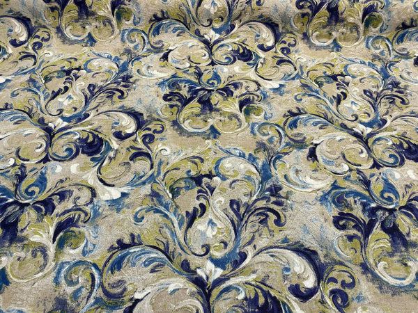 Boki Art Blue Digital Print Drapery Upholstery Vilber Fabric By The Yard