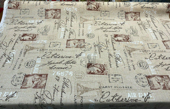 Paris Airmail Postal Sepia Vilber Cotton Drapery Upholstery Fabric by the yard