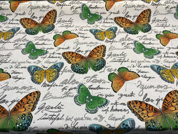 Garla Butterfly Midori Vilber Cotton Drapery Upholstery Fabric by the yard