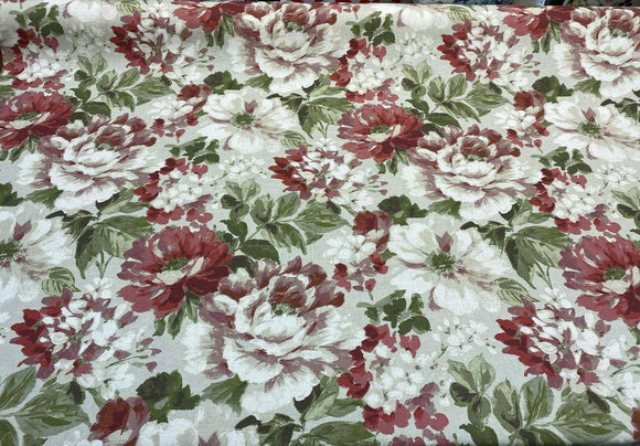 Lumi Floral Vintage Garden Cotton Drapery Upholstery Fabric by the yard