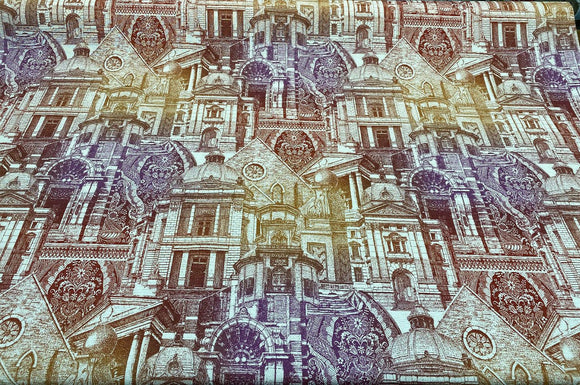 Architecture Building Toile Arqui Purple Red Multipurpose Fabric by the yard