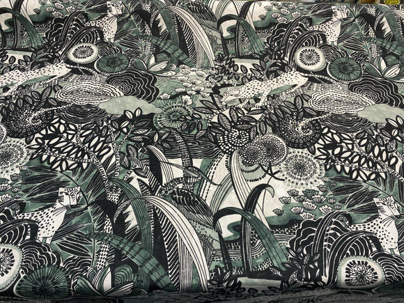 Jungle Toile Green Forest Drapery Upholstery Multipurpose Fabric by the yard