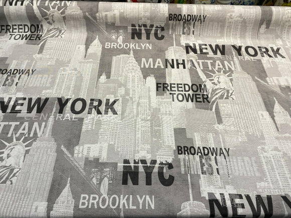 New York City Gray Manhattan Brookyln Drapery Upholstery Fabric by the yard
