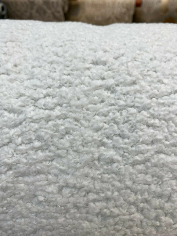 Italian Faux Sheepskin White Sterling Upholstery Fabric By The Yard