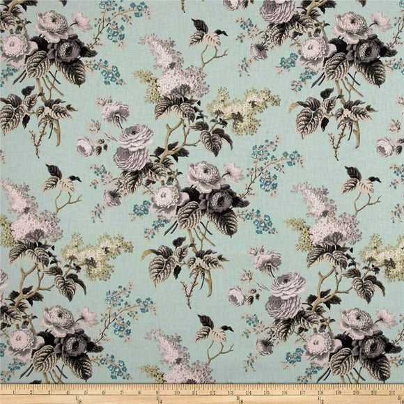 Waverly Floral Birds Blue Emma's Garden Mineral Fabric By the Yard