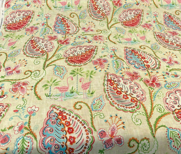 Waverly Flamingo Frolic Watermelon Linen Fabric by the yard