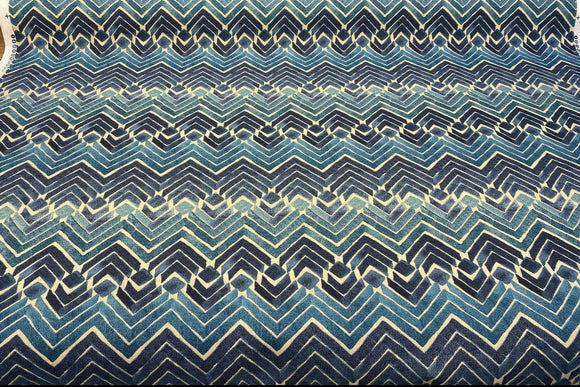 Kelly Ripa Zen Blend Indigo Chevron Fabric By the Yard
