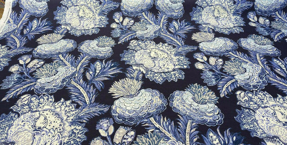 PKL Studio Balinese Garden Floral Blue Midnight Fabric By the Yard