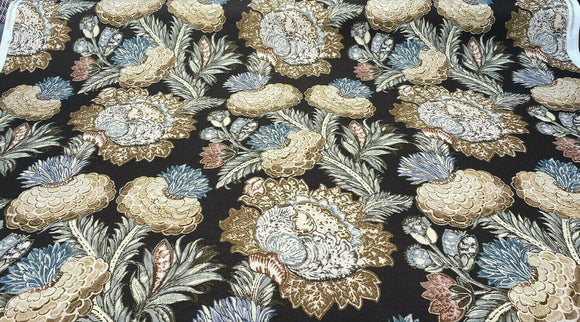 PKL Studio Balinese Garden Floral Caviar Brown Fabric By the Yard