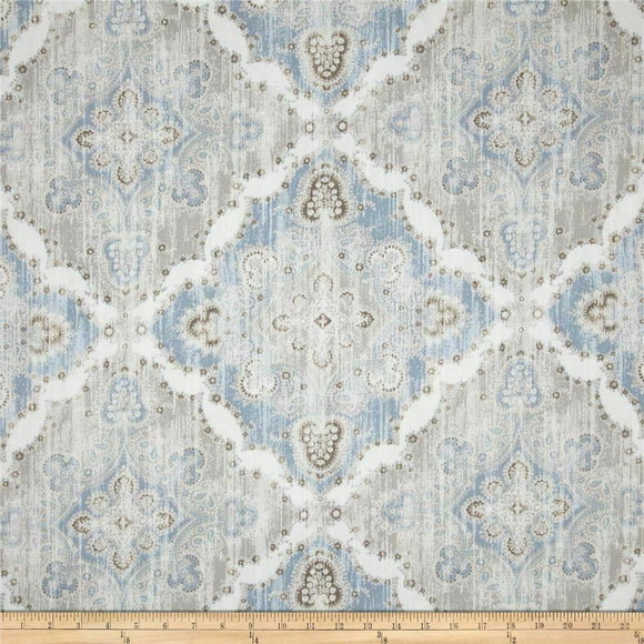 P Kaufmann Blue Paisley Fiesta Dance Tide Indoor Outdoor Fabric By The Yard