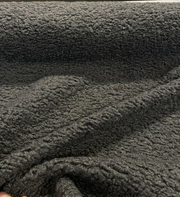 Italian Faux Sheepskin Charcoal Gray Upholstery Fabric By The Yard