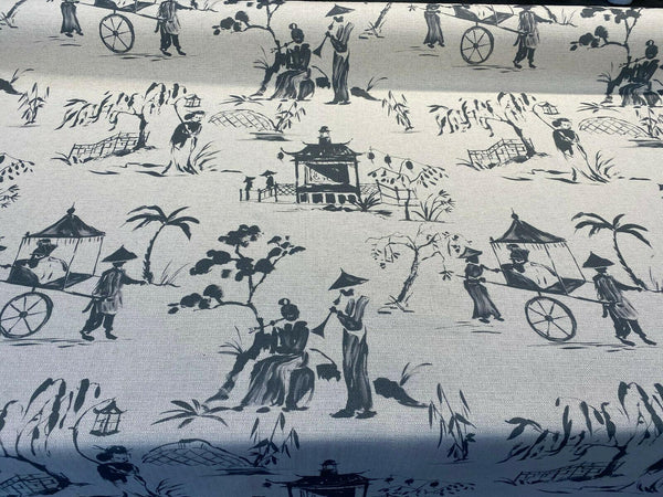 Chinoiserie Toile Gray Iza A Cotton Drapery Upholstery Fabric by the yard