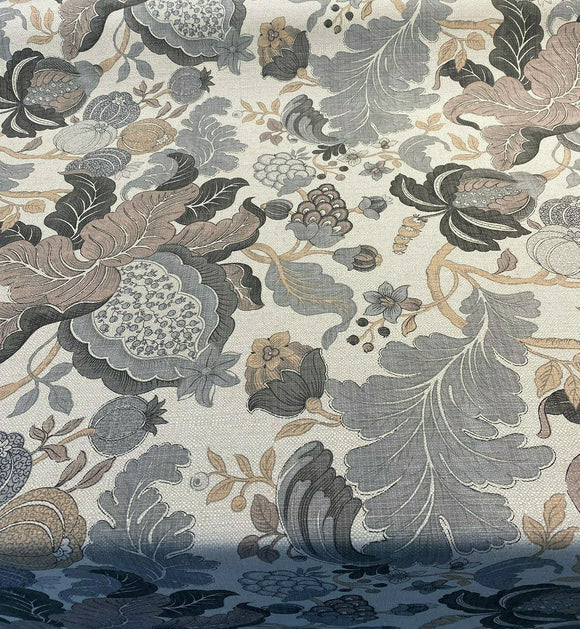Eire Jacobean Floral Linen Beige Teflon Drapery Upholstery Fabric by the yard