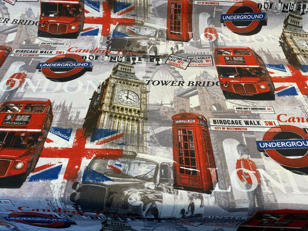 London Tower Bridge Britain Cotton Drapery Upholstery Fabric by the yard