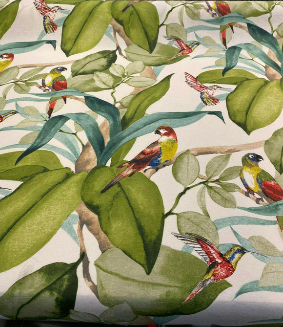 Birds Parrots Floral Green Branches Drapery Upholstery Fabric by the yard