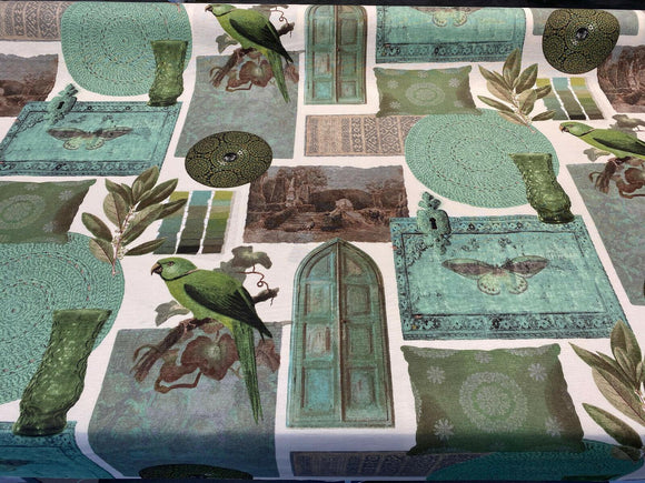 Aruba Green Birds Home Drapery Upholstery Fabric by the yard