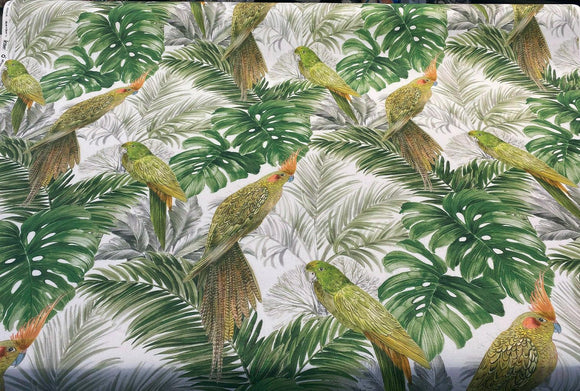 Aracua Birds Floral Green Branches Drapery Upholstery Fabric by the yard