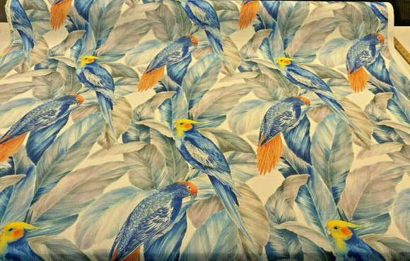 Rio Birds Floral Blue Branches Drapery Upholstery Fabric by the yard