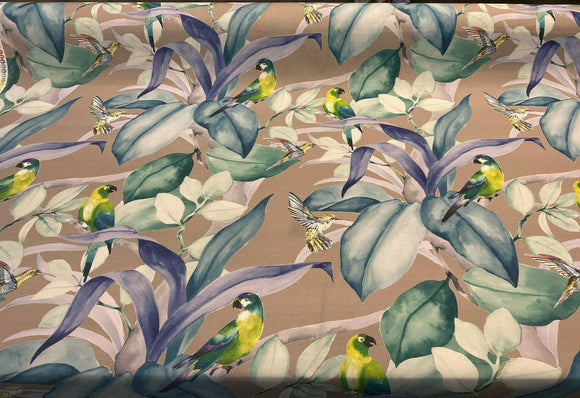 Green Birds Blue Floral Branches Drapery Upholstery Fabric by the yard