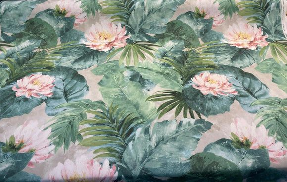 Nasau Tropical Floral Leaves Digital Print Drapery Upholstery Fabric by the yard