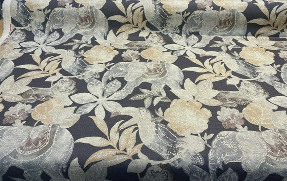 Babar Charcoal Elephant Printed Regal Upholstery Fabric by the yard