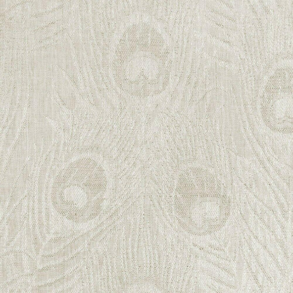 Cream Peacock Feather Finch Sand Damask Jacquard Fabric By The Yard