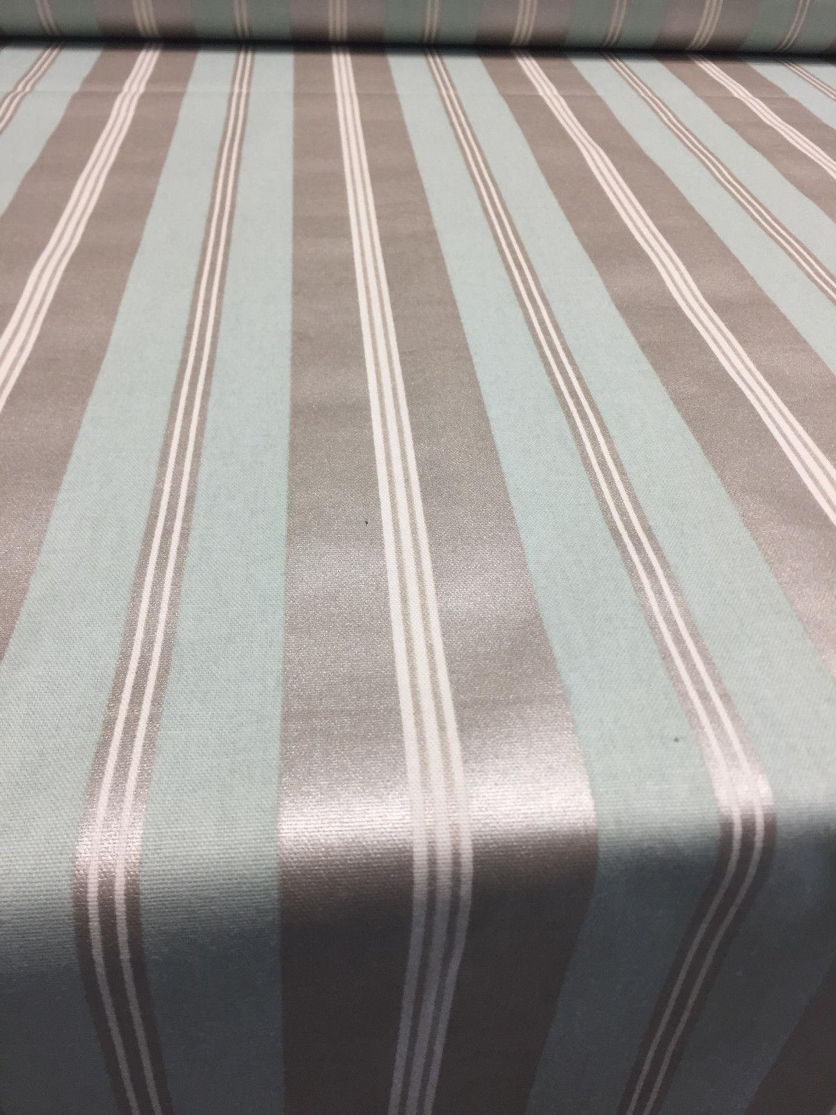 Sold by the Yard Off White//Light /& Medium Brown Striped Upholstery Fabric