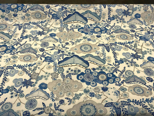 Schumacher blue Yume Fabric